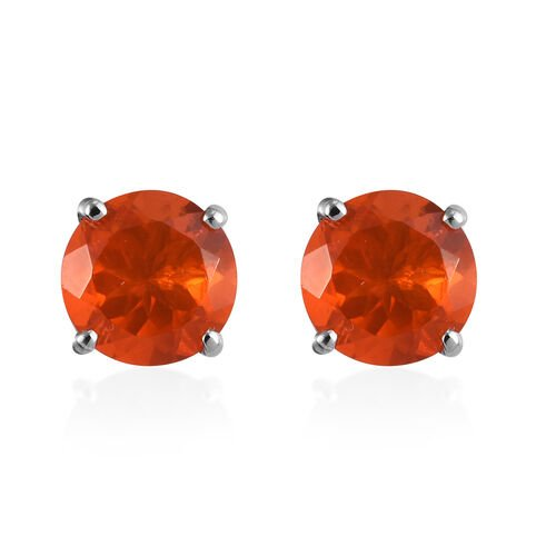 RHAPSODY 1.75 Ct AAAA Jalisco Fire Opal Stud Solitaire Earrings in 950 Platinum