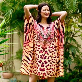 Winlar Animal Pattern Short Beige Kaftan (One Size)