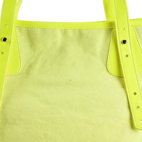 FIORUCCI Eco-Friendly Angle Printed Canvas Tote Bag with Zipper Closure (Size 39x17x31 Cm) - Neon Yellow