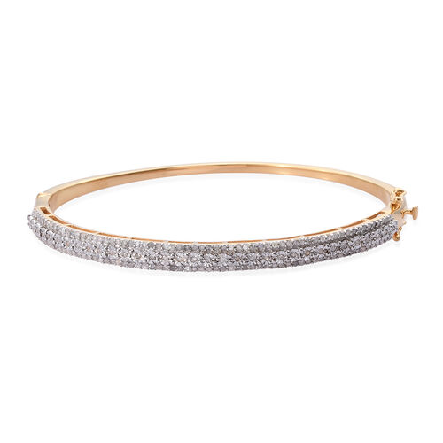1 Carat Diamond Stacker Bangle in Gold Plated Sterling Silver 13 Grams