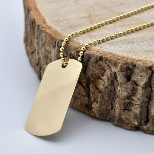 9CT Gold Dog Tag Pendant with Chain, Size 20 Inch