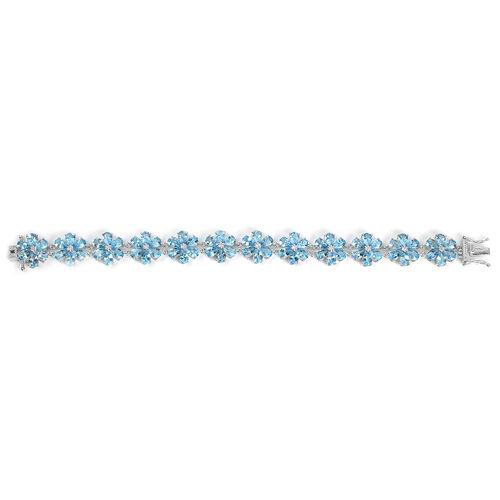 Swiss Blue Topaz (Pear) Flower Bracelet (Size 8) in Platinum Overlay Sterling Silver 32.487 Ct. Silver wt 18.50 Gms.