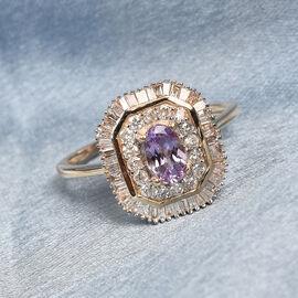 9K Yellow Gold  Pink Tanzanite, White Diamond Main Stone With Side Stone Ring in Rhodium Overlay 0.1