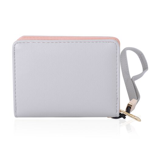 Grey, White and Multi Colour Girl with Flower Pattern Bi-Fold Ladies Purse (Size 11.3x9.5x3 Cm)