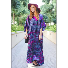 Winlar JESSICA Long Dress (One Size, S - XXL) - Purple, Blue and Magenta