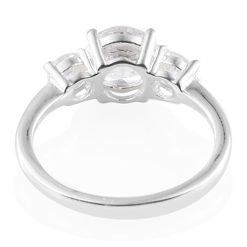 J Francis - Sterling Silver (Rnd) Three Stone Ring Made with SWAROVSKI ZIRCONIA