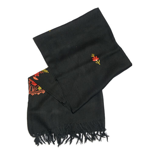 One Time Deal-100% Merino Wool Black Shawl with Cashmere Embroidery (Size 180X70 Cm)