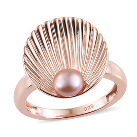 Designer Inspired-Fresh Water Pink Pearl Ring in Rose Gold Overlay Sterling Silver, Silver wt 3.87 Gms.