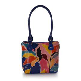 Sukriti 100% Genuine Leather Autumn Leaf Pattern Hand Painted Shoulder Bag (Size 24x7x24 Cm) - Multi