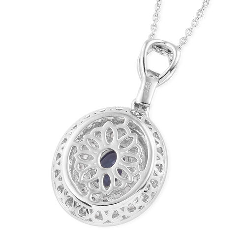 One Time Deal - Tanzanite (Ovl), Natural Cambodian Zircon Pendant with Chain (Size 20) in Platinum Overlay Sterling Silver 1.500 Ct.