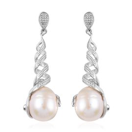 GP Freshwater Pearl (Drop), Blue Sapphire Dangle Earrings (with Push Back) in Platinum Overlay Sterl
