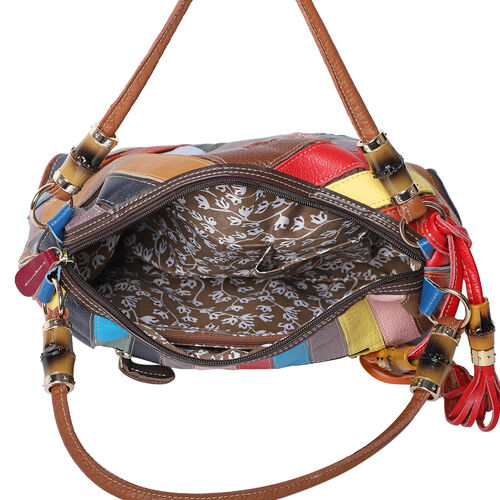 100% Genuine Leather Handbag with Detachable Shoulder Strap and Zipper Closure (Size 30x12x22cm) - Multi Colour