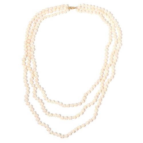 One Time Deal-Designer Hand Knotted 9K Yellow Gold AAA Japanese Akoya Pearl (4-5mm) 3 Strand Necklace (Size 18-24 inch)