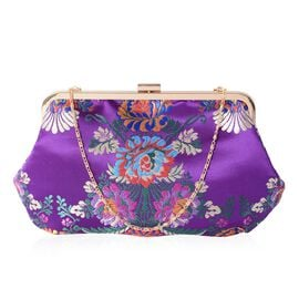 New Season - Purple with Multi Colour Embroidery Flower Pattern Clutch Bag with Chain Shoulder Strap (Size 29x17.5 Cm)