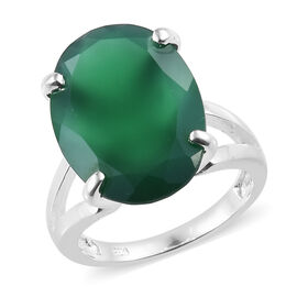 Verde Onyx (Ovl 18x13 mm) Solitaire Ring in Sterling Silver 9.000 Ct.