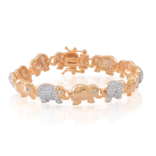 ELANZA  Simulated White Diamond (Rnd) Elephant Bracelet (Size 7.5) in 14K Gold Overlay Sterling Silver, Silver wt 16.50 Gms.