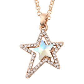 Simulated Mercury Mystic Topaz and White Austrian Crystal Star Necklace (Size 24) in Yellow Gold Ton