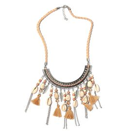 White Howlite, Khaki Howlite, Natural Colour Shell, Simulated Champagne and Multi Colour Beads BIB Necklace (Size 22) in Silver Bond.