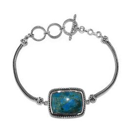 Natural Peruvian Peacock Opalina (Cush 22x16 mm) Bracelet (Size 7.5 to 8.5) in Sterling Silver 17.88