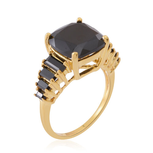 Boi Ploi Black Spinel (Cush 8.00 Ct) Ring in 14K Gold Overlay Sterling Silver 10.150 Ct.
