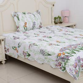 2 Piece Set - Multi Colour Floral Pattern Quilt (Size 240x180 Cm) and Pillow Case (Size 50x70+5) Flo