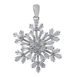 ELANZA Simulated Diamond (Bgt and Rnd) Snowflake Pendant in Rhodium Overlay Sterling Silver