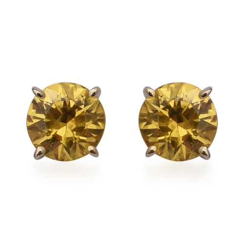 9K Yellow Gold Yellow Sapphire Stud Earrings (with Push Back) 2.10 Ct.