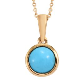 SLEEPING BEAUTY TURQUOISE (1.15 Ct) 14K Gold Overlay 14K Gold Overlay Sterling Silver Pendant With C
