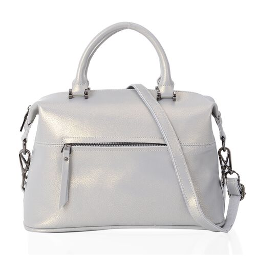 HONG KONG CLOSE OUT DEAL- 100% Genuine Leather Silver Grey Metallic Colour Tote Bag with External Zipper Pocket and Removable Shoulder Strap (Size 31.5x13x19 Cm)