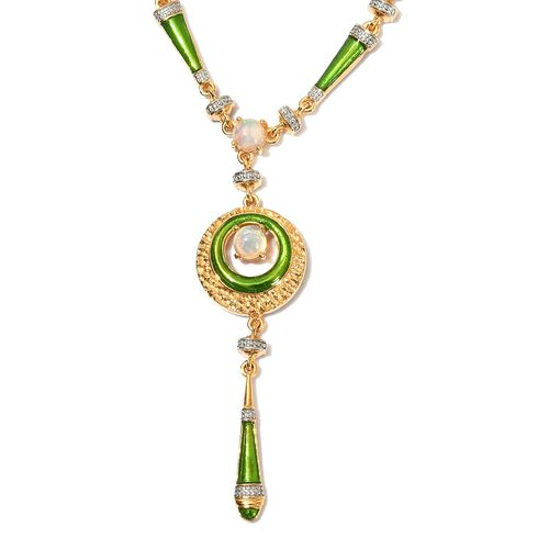 Designer Inspired-  Ethiopian Welo Opal Enamelled Necklace (Size 18) in 14K Gold Overlay Sterling Si