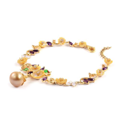 JARDIN COLLECTION - Golden South Sea Pearl (14mm) and Multi Gemstones Bracelet (Size 7 with 1 inch Extender) in Rose Gold and Rhodium with Enameled Overlay Sterling Silver