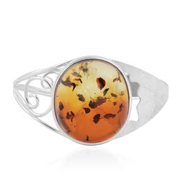Baltic Amber (Ovl) Bangle (Size 7.5) in Sterling Silver, Silver wt 32.50 Gms