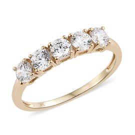 J Francis - 9K Yellow Gold (Rnd) 5 Stone Ring Made with SWAROVSKI ZIRCONIA