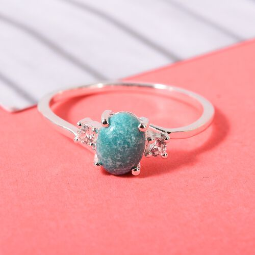 AA Nevada Turquoise and Natural Cambodian Zircon Ring in Sterling Silver 1.08 Ct.