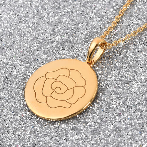 Personalise Engraved Name and Birthflower Pendant with Chain in Silver