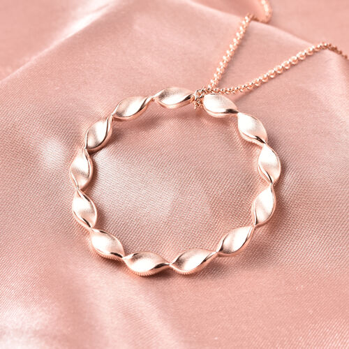 RACHEL GALLEY Rose Gold Overlay Sterling Silver Sandblast Texture Twist Circle Design Pendant with Chain (Size 30), Silver wt. 14.31 Gms