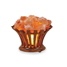 Himalayan Salt Chunks Lamp with Wooden Flower Bucket (Size 11x14 Cm) (Including E14/220V/15W Bulb) (