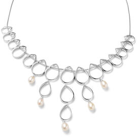 LucyQ Open Tear Drop Collection - Freshwater Pearl Necklace (Size 16/ 18 / 20) in Rhodium Overlay St