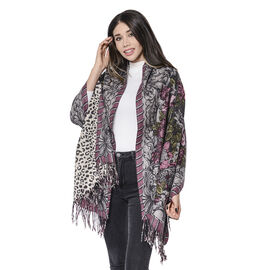 LA MAREY Super Soft 100% Lambswool Reversible Off-White Leopard and Purple/Grey Floral Pattern Shawl