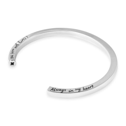 3 Piece Set - Engraved Message Memorial Bangle (Size 7), Screw Drive and Funnel with Needle in Stainless Steel