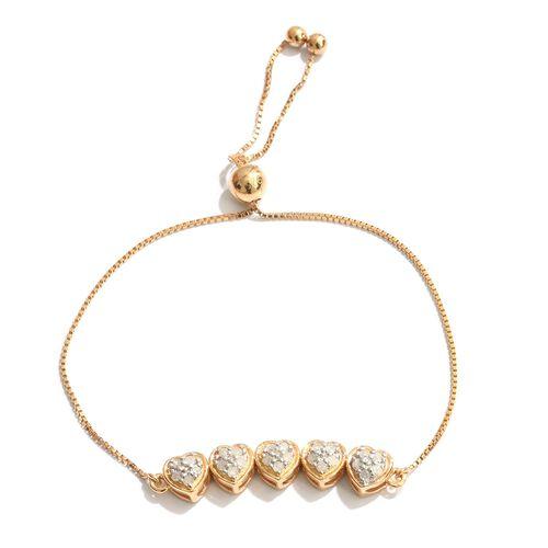 Silver 0.25 Carat Diamond Adjustable Heart Bracelet in Gold Overlay (Size 6.5)