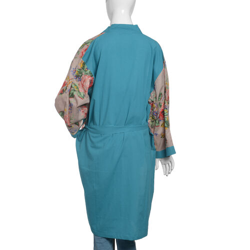 100% Cotton Sea Blue, Grey and Multi Colour Flower and Leaves Pattern Gown (Size 100x65 Cm)