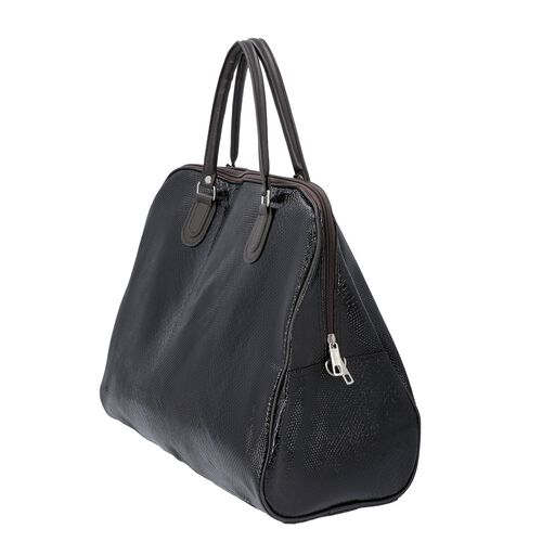 Snake Skin Pattern Tote Bag with Zipper Closure and Detachable Shoulder Strap (Size 43x23x39 Cm) - Black
