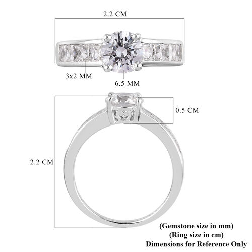 J Francis Platinum Overlay Sterling Silver Ring Made with SWAROVSKI ZIRCONIA 2.96 Ct.