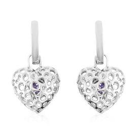 RACHEL GALLEY Tanzanite Lattice Heart Drop Earrings in Rhodium Overlay Sterling Silver