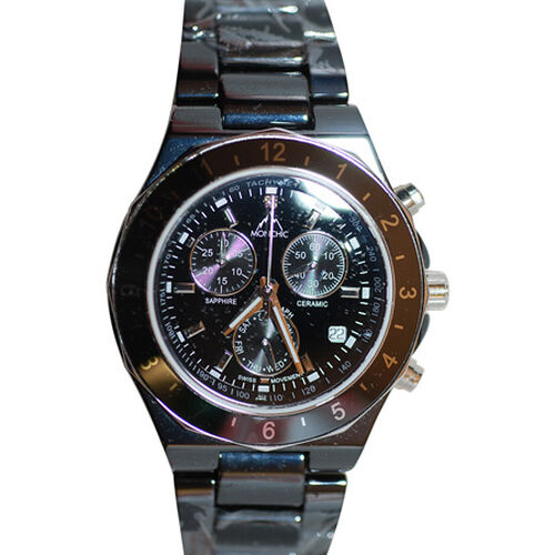 MONCHIC High Tech. Ceramic  Chronograph  Swiss Movement Sapphire Crystal Diamond, Swarovski Crystal Dial Gents Watch  0.005  Ct.