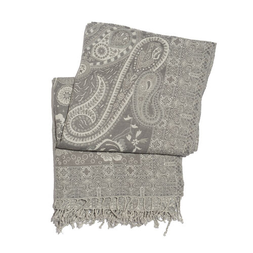 Wool Rich Jamawar - Jacquard Floral Reversible Plaid Grey and White with Tassels (Size 180x140 cm)