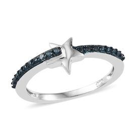 Blue Diamond (Rnd) Star Ring in Platinum and Blue Overlay Sterling Silver 0.050 Ct.