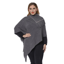 Ladies Knitted Cape Neck Poncho with Beads and Tassels (Size 100x90 Cm) - Grey