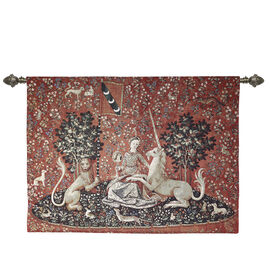 Signare Tapestry - Wall Hanging - Lady and Unicorn Sense of Sight (Size 120x85 Cm)